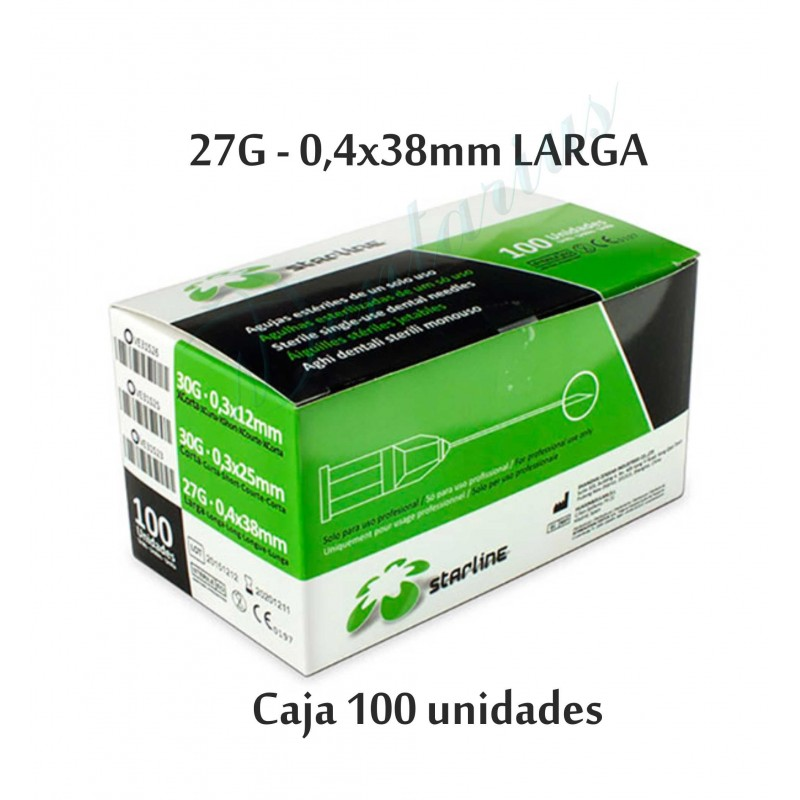 AGUJAS STARLINE 27G LARGA  (0'4x38mm)